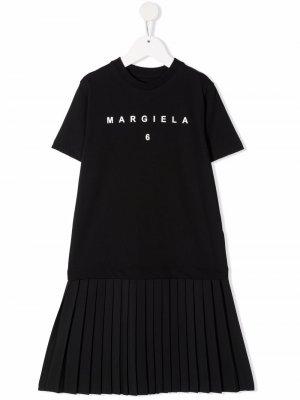 Pleated hem T-shirt dress MM6 KIDS. Цвет: черный