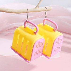 Серьги-подвески с чемоданом для девочек SHEIN. Цвет: многоцветный