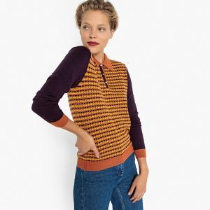 Пуловер с воротником-поло из жаккардового трикотажа LA REDOUTE COLLECTIONS. Цвет: узор/желтый