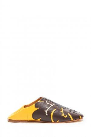 Желтые кожаные слиперы с аппликацией Vita Kin. Цвет: коричневый
