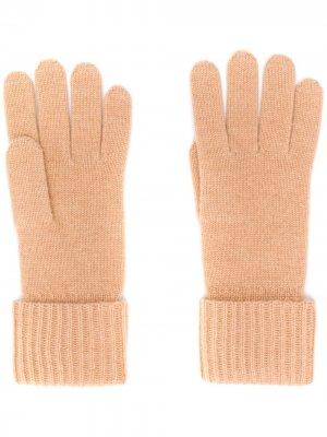 Трикотажные перчатки в рубчик N.Peal. Цвет: нейтральные цвета