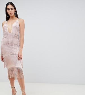 Облегающее платье с глубоким квадратным вырезом и бахромой ASOS TALL. Цвет: розовый