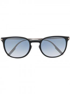 Солнцезащитные очки в геометричной оправе Ermenegildo Zegna. Цвет: черный