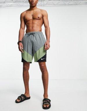 Серые волейбольные шорты длиной 9 дюймов с фирменной тесьмой Swimming-Серый Nike