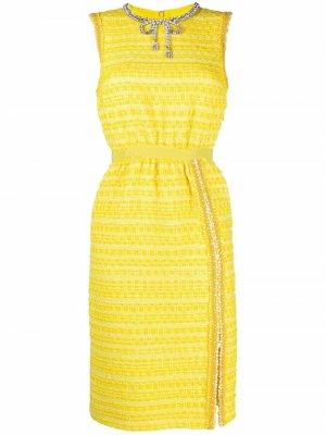 Платье с бантом из кристаллов Giambattista Valli. Цвет: желтый