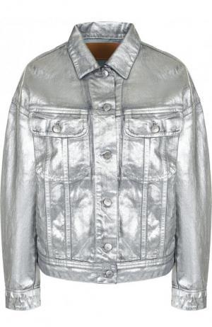 Укороченная джинсовая куртка свободного кроя Acne Studios. Цвет: серебряный