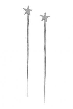 Серебристые серьги со звездами Aqua. Цвет: серебряный