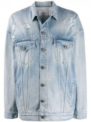 Джинсовая куртка оверсайз с эффектом потертости Givenchy. Цвет: синий