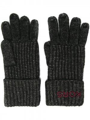 Вязаные перчатки Michael Kors. Цвет: черный