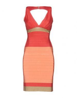 Короткое платье HERVÉ LÉGER. Цвет: лососево-розовый