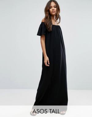 Платье макси с открытыми плечами ASOS TALL. Цвет: черный