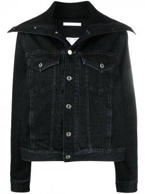 Джинсовая куртка с косым воротником Helmut Lang. Цвет: черный