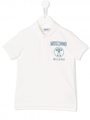 Рубашка-поло с принтом логотипа Moschino Kids. Цвет: белый