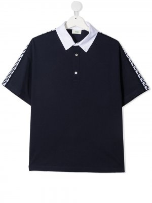 Рубашка поло с логотипом Fendi Kids. Цвет: синий