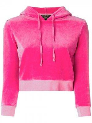 Укороченный велюровый пуловер с капюшоном Juicy Couture. Цвет: розовый
