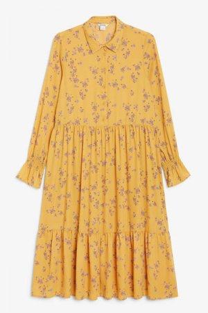 Платье миди с ярусной юбкой Monki. Цвет: желтый