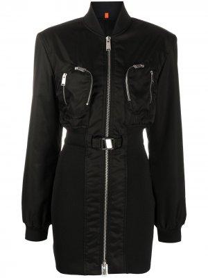 Платье в стилистике куртки-бомбер Heron Preston. Цвет: черный