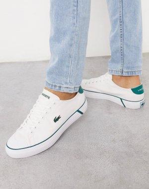 Бело-зеленые кроссовки -Белый Lacoste