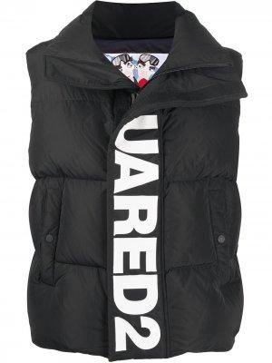 Дутый жилет с логотипом Dsquared2. Цвет: черный
