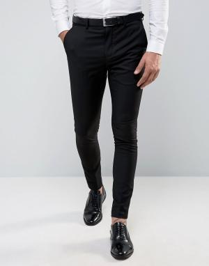 Ультразауженные брюки под смокинг Selected Homme. Цвет: черный