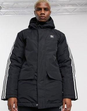 Черная парка с 3 полосками -Черный adidas Originals
