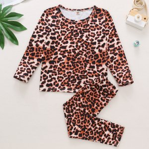 Для девочек с леопардовым принтом Футболка Леггинсы SHEIN. Цвет: многоцветный