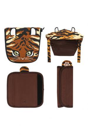 Комплект декоративных накладок на рюкзак-переноску Dolce & Gabbana. Цвет: коричневый