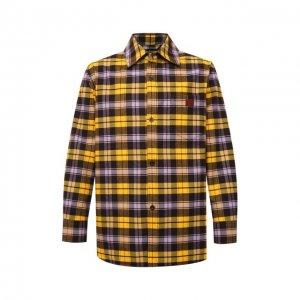 Хлопковая рубашка Acne Studios. Цвет: жёлтый