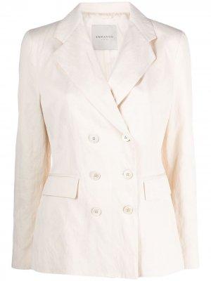 Двубортный пиджак Ermanno. Цвет: нейтральные цвета