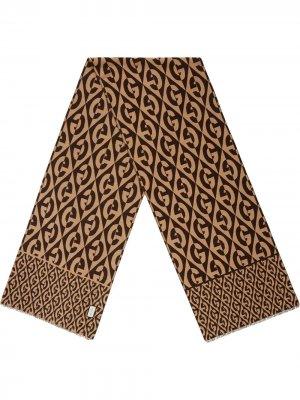 Жаккардовый шарф с узором G Rhombus Gucci. Цвет: коричневый