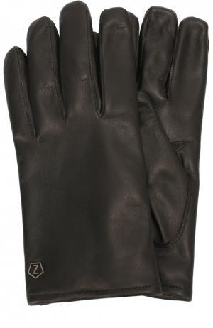 Кожаные перчатки с шерстяной подкладкой Z Zegna. Цвет: черный
