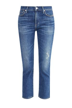 Укороченные джинсы Premium Vintage из денима с потертостями CITIZENS OF HUMANITY. Цвет: синий