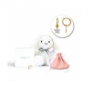 Серьги из золота с бриллиантами мягкой игрушкой «Заяц» SOKOLOV