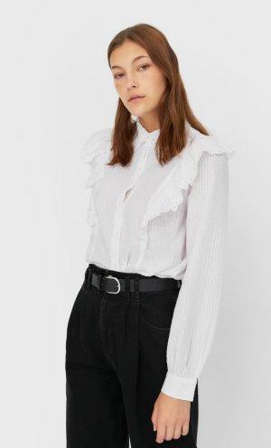 Блуза С Воланом Женская Коллекция Белый S Stradivarius. Цвет: белый