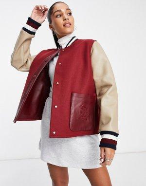 Бейсбольная куртка бордово-кремового цвета Collections-Красный Tommy Hilfiger