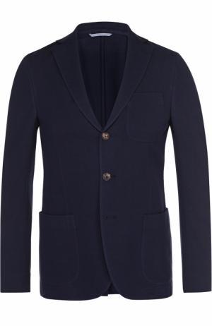 Хлопковый однобортный пиджак malo. Цвет: темно-синий