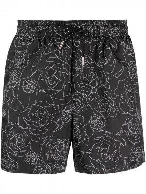 Плавки-шорты с цветочным принтом Les Hommes. Цвет: черный