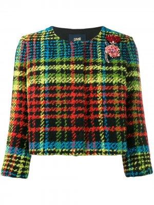 Укороченный пиджак в ломаную клетку Cavalli Class. Цвет: желтый