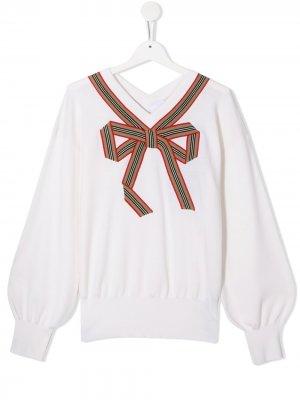 Пуловер с отделкой Icon Stripe Burberry Kids. Цвет: нейтральные цвета