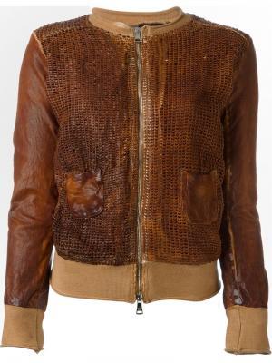 Фактурная кожаная куртка Giorgio Brato. Цвет: коричневый