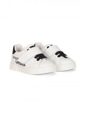 Кроссовки Portofino с логотипом Dolce & Gabbana Kids. Цвет: белый