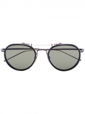Солнцезащитные очки в круглой оправе Thom Browne Eyewear. Цвет: черный
