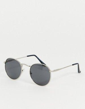 Круглые солнцезащитные очки в серебристой оправе -Серебряный AJ Morgan