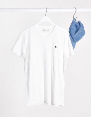 Белая футболка с V-образным вырезом -Темно-синий Abercrombie & Fitch