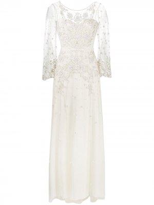 Свадебное платье Apache с вышивкой Jenny Packham. Цвет: нейтральные цвета