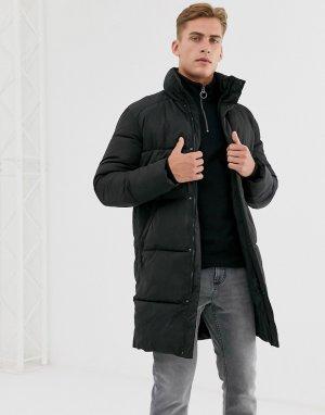 Длинная дутая куртка из переработанного материала -Черный Selected Homme