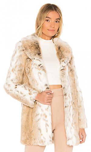 Пальто из искусственного меха tatiana MAJORELLE. Цвет: nude