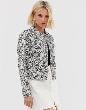 Джинсовая куртка с леопардовым принтом -Мульти Parisian