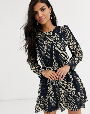 Платье мини с поясом Ophe-Синий BA&SH
