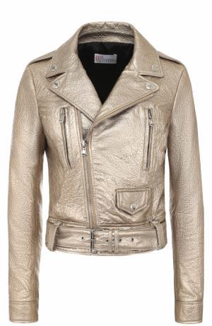 Кожаная куртка с косой молнией REDVALENTINO. Цвет: золотой
